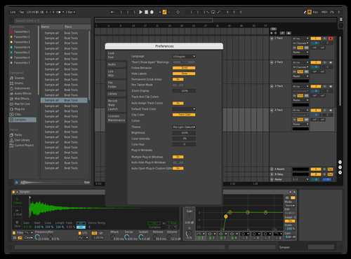 Dark - Black Gray Green Orange Theme for Ableton 10 by Oracle